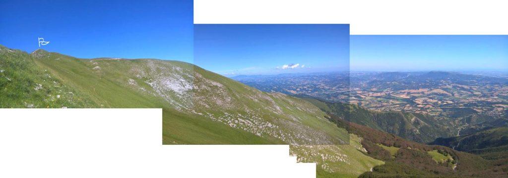 Fotomontaggio del panorama, dal sentiero che sale alla cima del Monte.
